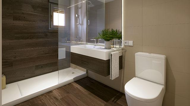 Baños en las viviendas de la promoción El Mirador